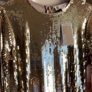 MICHAEL Michael Kors Flounce-Sleeve Sequined Dress